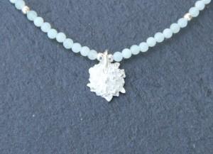 Collier 57cm EN Agate facettes Blanc Opalite et Argent