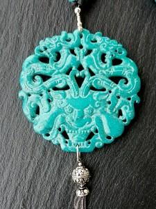 Dragon jade turquoise médaillon