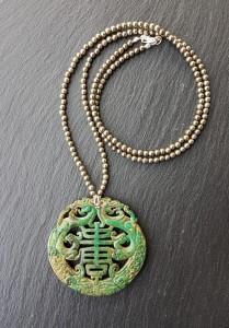 Dragon jade vert mousse pyrite collier