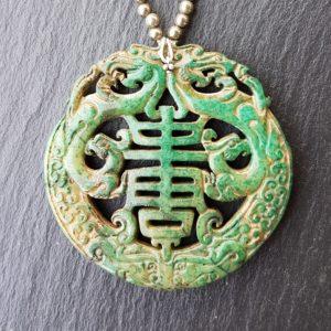 Dragon jade vert mousse pyrite médaillon