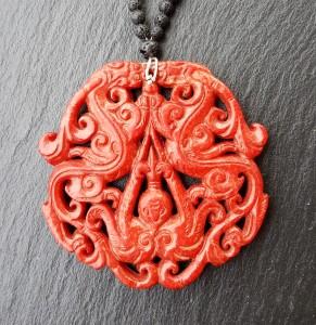 Poulpe jade rouge médaillon